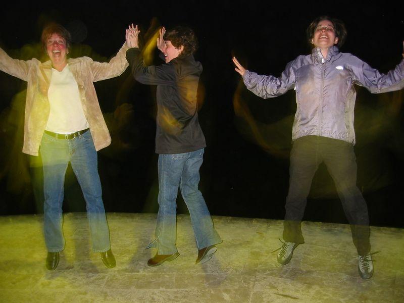 Nancy, Liz, and Terri -- hopping in Sitges.