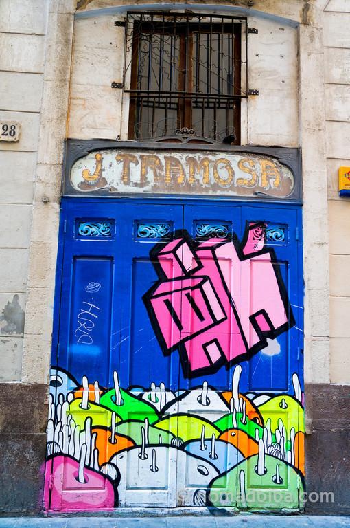 Barcelona door with street art