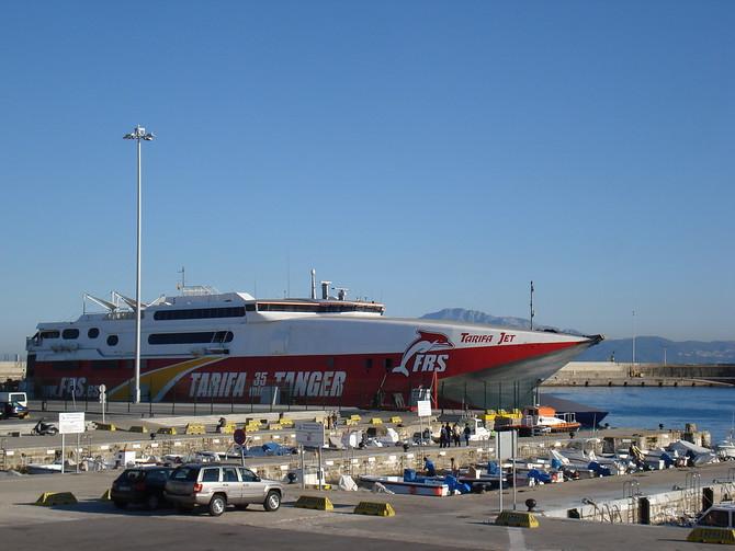 Tarifa jet, the Tarifa to Tangier, Morocco ferry at Puerto De La Rada, Tarifa - Spain.