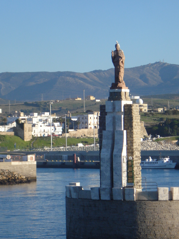 Statue of Jesus at the port entrance, Tarifa - Spain.