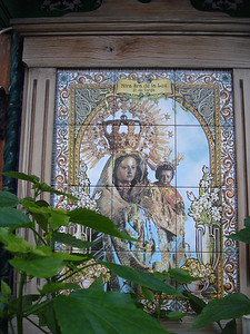 Mary And Jesus image on tiles, Tarifa - Spain.