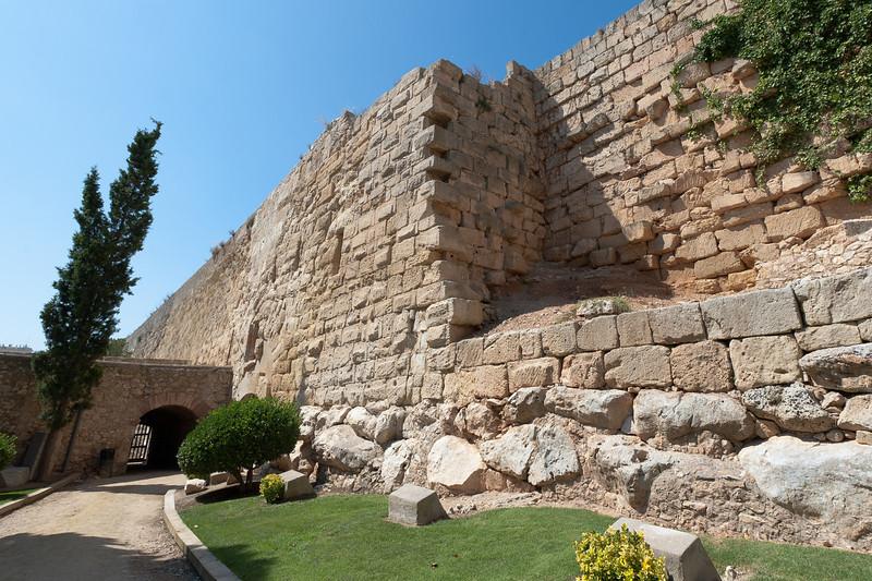 Ancient Roman city walls in Tarragona, Spain