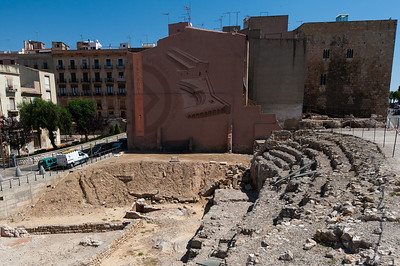 Part of the ruins at the Ancient Roman Ampitheater in Tarragona, Spain