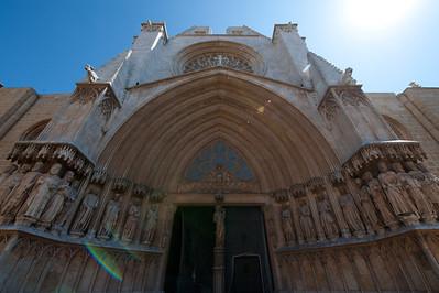 The entrance to Tarragona Cathedral in Tarragona, Spain