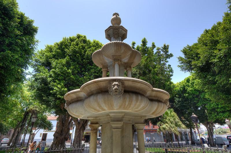 Central fountain in Plaza del Adelantado in La Laguna, Tenerife, Spain