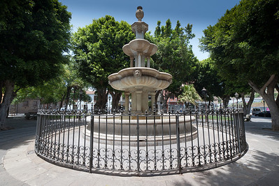 Central fountain in Plaza del Adelantado in La Laguna, Tenerife, Spain