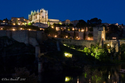 Toledo Fort at night in Spain