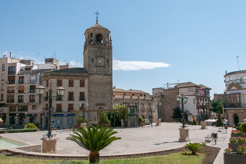 The bell tower at Plaza de Andalucia in Ubeda, Spain