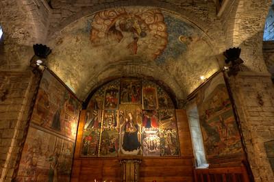 The altar in Iglesia de San Miguel in Vielha, Val d'Aran, Catalonia, Spain