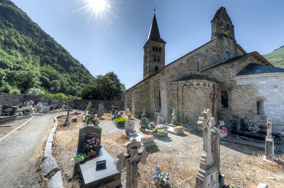 Grave site outside Iglesia de San Miguel in Val d' Aran, Catalonia, Spain