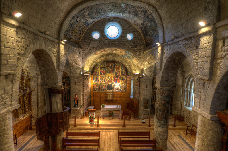 View of the interior of Iglesia de San Miguel in Val d' Aran, Catalonia, Spain