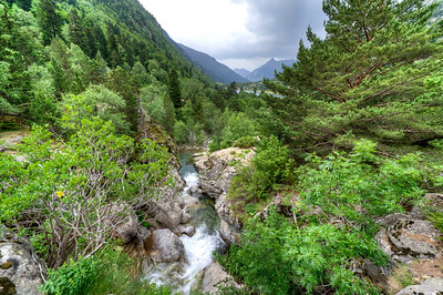 Stream from the waterfall in Vall de Boi, Spain