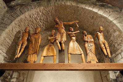 Wood sculptures at Sant Climent in Taull, Vall de Boi, Spain