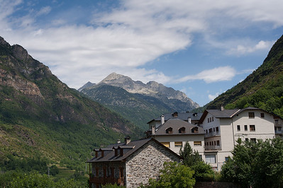 Roca de la Feixa mountain seen from Barruera in Vall de Boi, Spain
