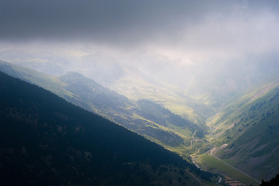 Clouds covering the valley in Vall de Nuria, Spain