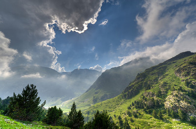Clouds over the Pyrenees Mountains in Vall de Nuria, Spain