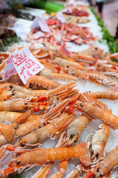 Fresh seafood at Mercado Central in Valencia, Spain