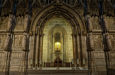 The altar which holds the Holy Grail in Valencia Cathedral, Spain