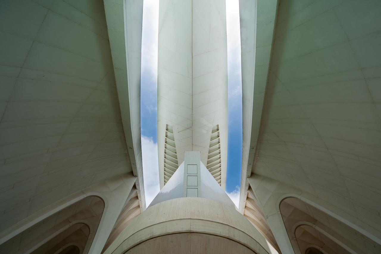 Architectural details in Palau de les Arts Reina Sofia in Valencia, Spain
