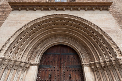 East view (Almoina Square): Almoina Gate and tower transept in Valencia Cathedral - Spain