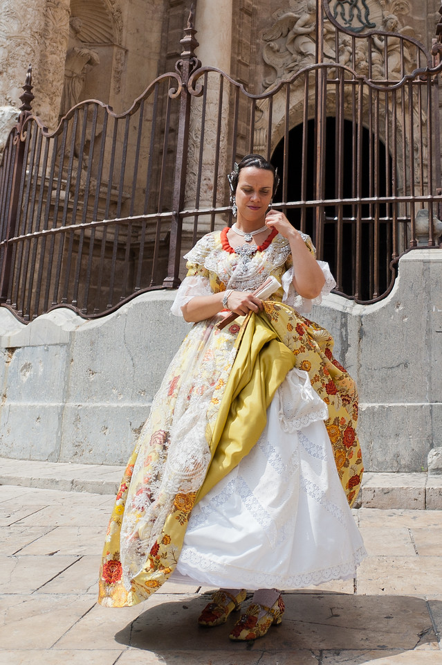 Woman wearing traditional dress in Valencia, Spain