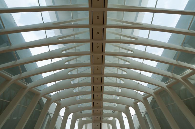 Details of ceiling inside Palau de les Arts Reina Sofia in Valencia, Spain