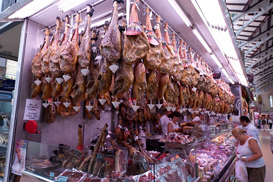Meat shop in Mercado Central of Valencia, Spain