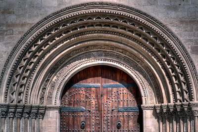 Details to entrance door of Valencia Cathedral in Valencia, Spain