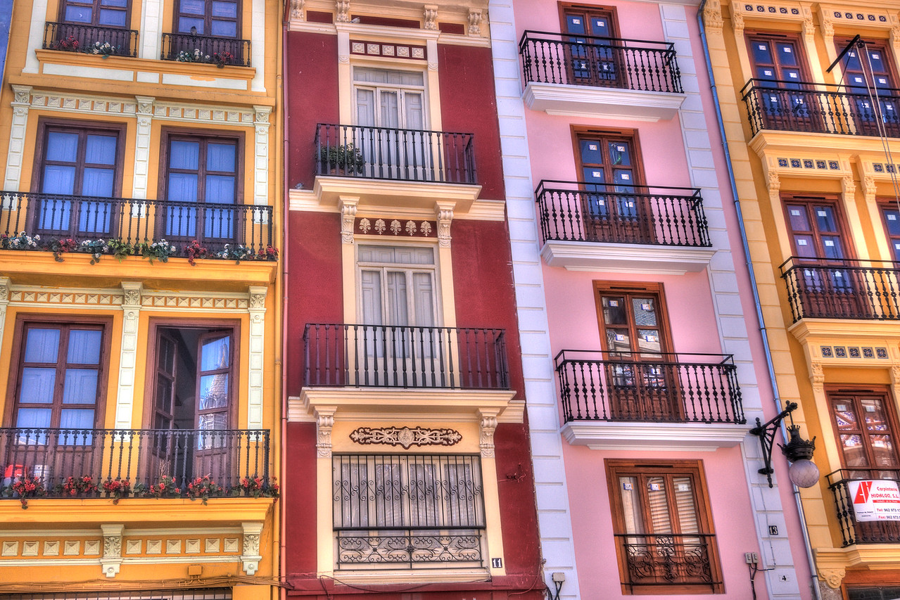 Colorful buildings with balcony in Valencia, Spain