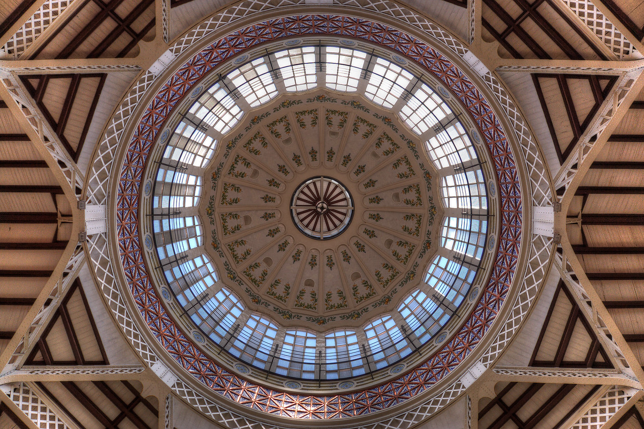 Covered market ceiling in Plaza del Mercado Central - Valencia, Spain