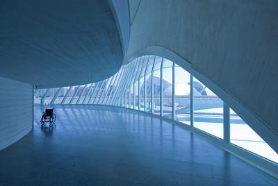Solitary wheelchair inside L'Oceanografic in Valencia, Spain