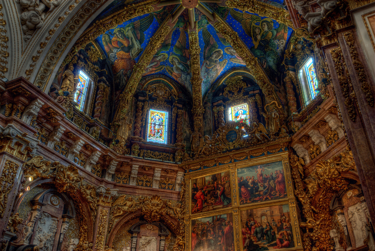 Religious art inside Valencia Cathedral in Spain