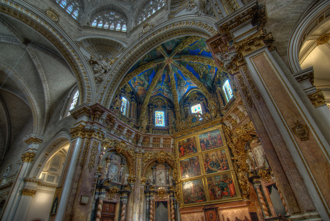 Architectural details inside Valencia Cathedral in Spain