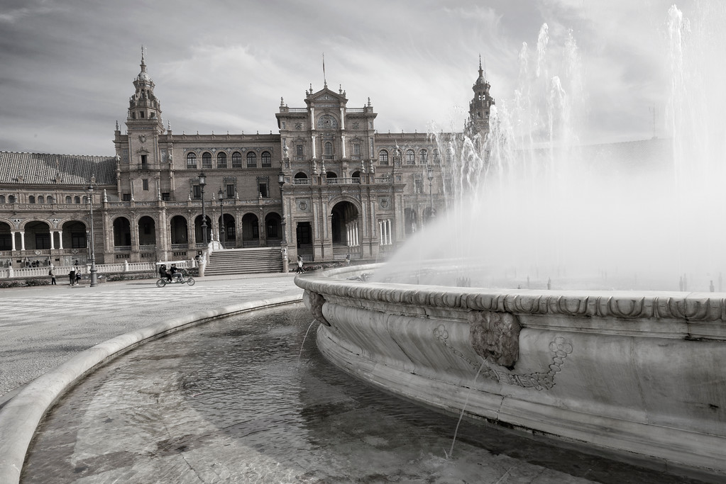 Blank and white closeup of fountain an plaza de espana, Seville Spain