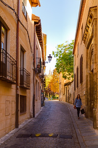 A quiet street by our hotel in Segovia, Spain