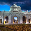 "Puerta de Alcala was inaugurated in 1778... in the distance viewable through the arch is The Metropolis Building which stands from just 1911.  8755 x 5025 pixels!! That translates into a 36 x 20"" print without even having to enlarge it! That's a 44 MEGAPIXEL image!  This was composed of a total of 15 shots to create 5 slices, then stitched together. For the photo geeks: ISO 100, 28mm, at f/11... shortest exposure .5 sec, longest @ 6 seconds."