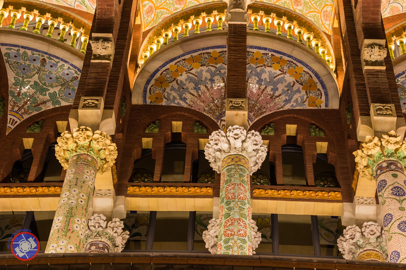 Another Nighttime View of the Front Facade of Palau de la Musica, Barcelona, Illustrating the Tile Work (©simon@myeclecticimages.com)