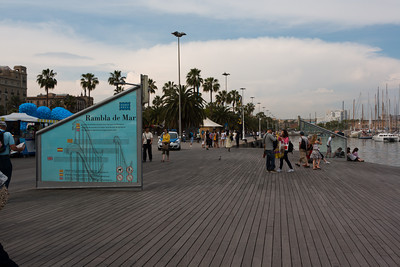 Rambla de Mar, on the Waterfront, Barcelona, Spain