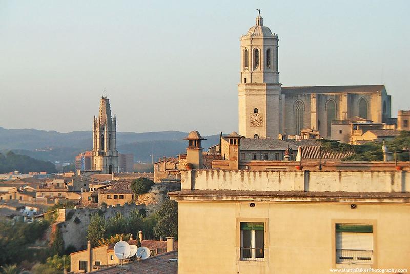 The Church of Sant Feliu and the Cathedral, Girona, Catalunya, Spain.
