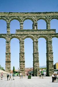 Old Roman Aqueduct in Segovia, Spain