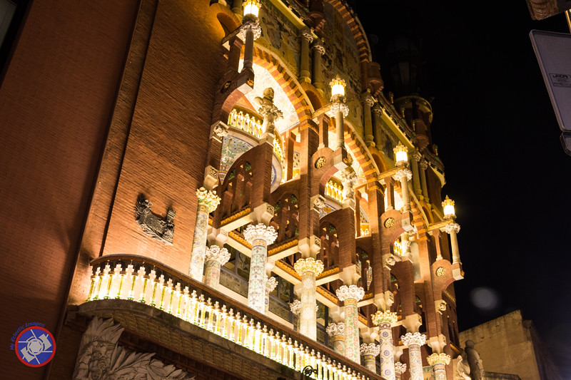 Nighttime View of the Front Facade of Palau de la Musica, Barcelona (©simon@myeclecticimages.com)