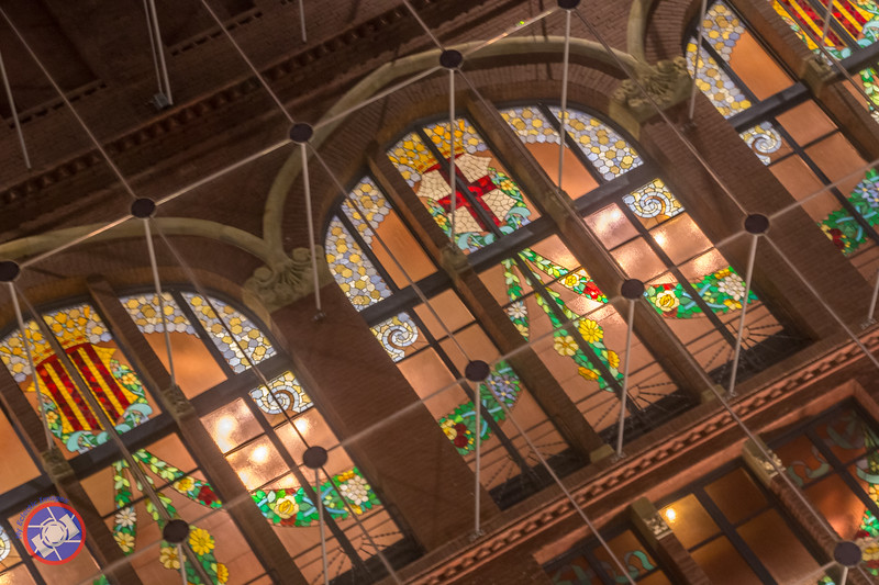 Illuminated Stained Glass Windows on the Side Facade of Palau de la Musica, Barcelona (©simon@myeclecticimages.com)