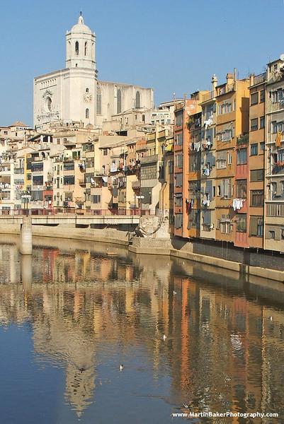 The Cathedral and River Onyar, Girona, Catalunya, Spain.