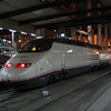 AVE set 100 003 in the latest AVE livery at Madrid Atocha. March 2008.