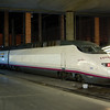 AVE power car 100 003-2 in the latest AVE livery at Madrid Atocha. March 2008.