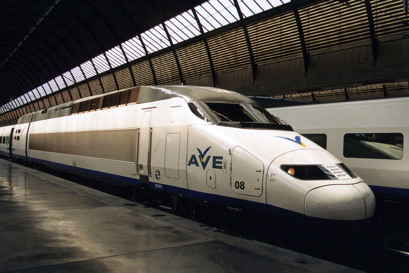 AVE power car 100 008-2 in the original AVE livery at Sevilla Santa Justa during 2003.
