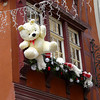 Teddy bears hang from rooftops in Strasbourg, France.