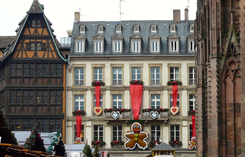 A decorated building near the cathedral in Strasbourg, France, at Christmas. Strasbourg is one of the charming European cities on a Rhine River Christmas Markets cruise. It's a travel experience that we'd love to repeat!
