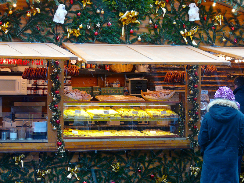 A food booth near the cathedral in Strasbourg, France at Christmas. It sure made us hungry when our Rhine River Christmas Markets cruise stopped in Strasbourg. It's a travel experience that we'd like to repeat.