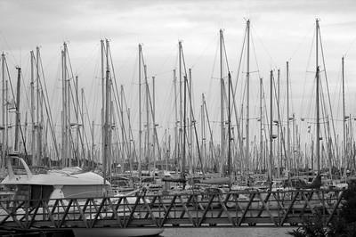 Masts at the pleasure boat harbor Les Minimes